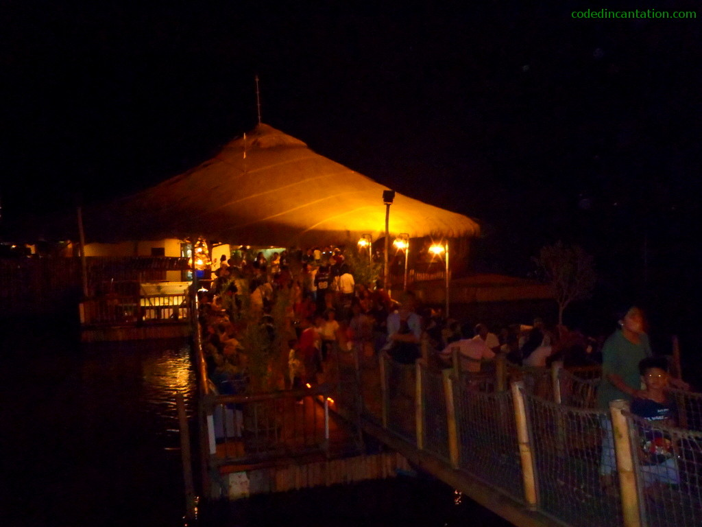After the entrance path of the floating restaurant.