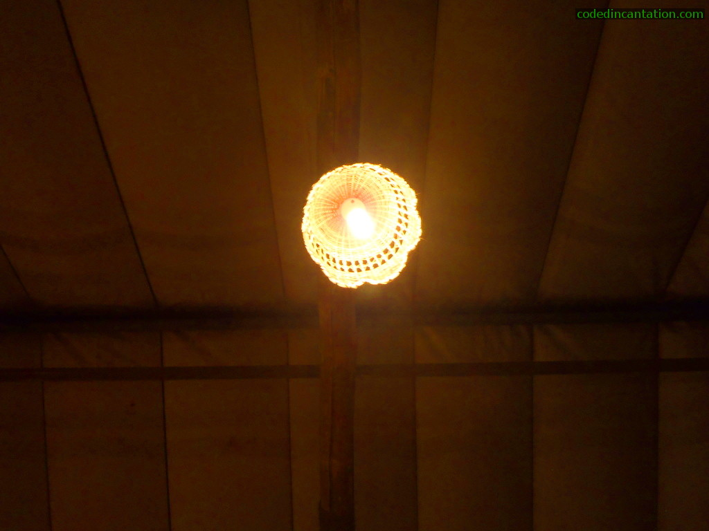 Lamp on the tent. Main area of Lantaw: floating restaurant