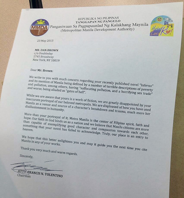 MMDA reply to Dan Brown