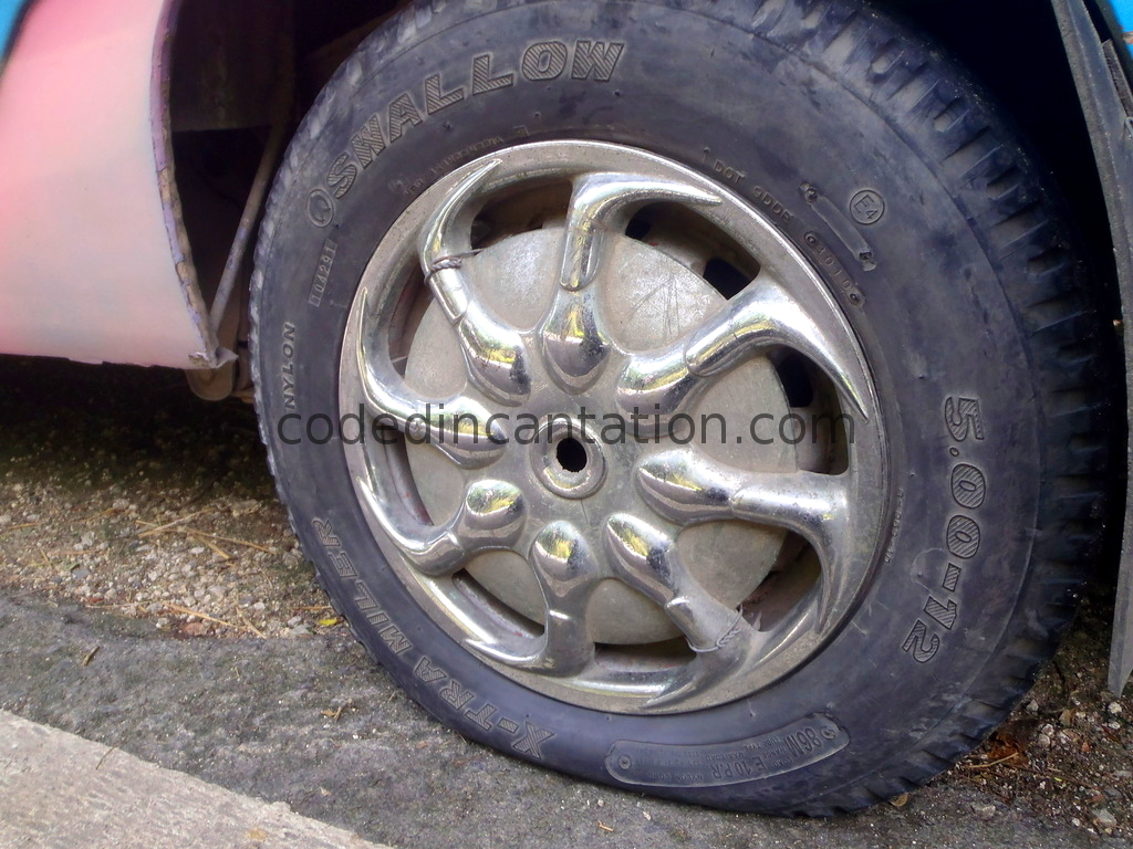Trip to Badian. Flat Tire