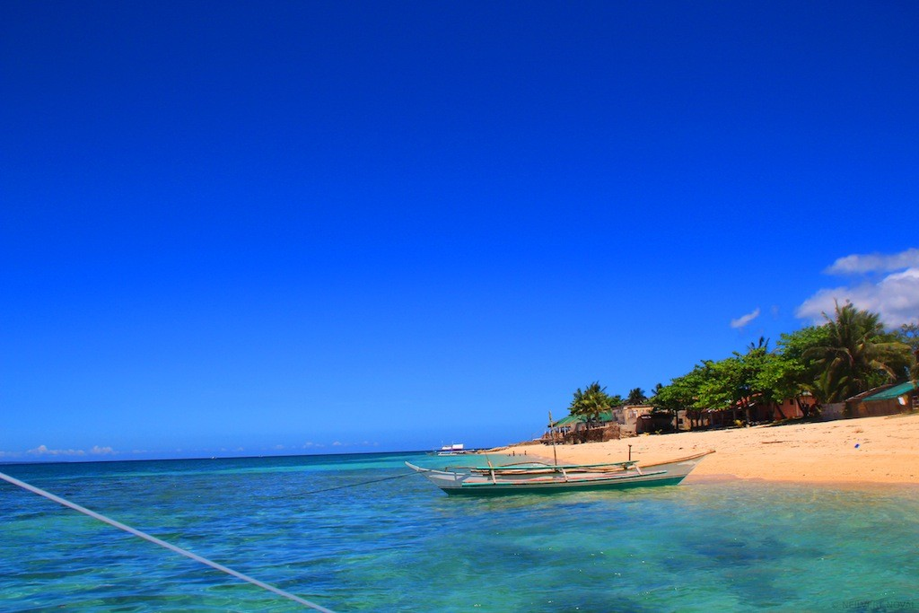 Beach shoreline. Cebu's Funtastic Island.