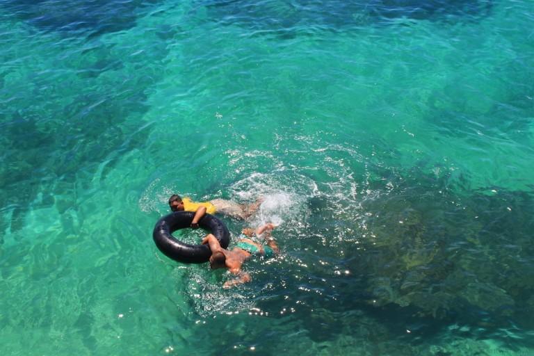 Swimming after jumping. Cebu's Funtastic Island.
