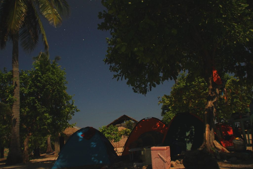 Night time. Tent. Kalaggaman Island.